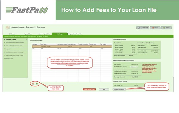 Fast Pass - How to Add Fees to Your Loan File course image